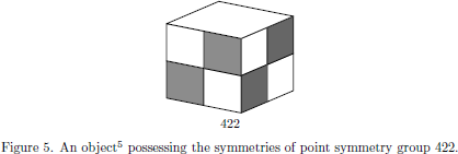 Figure 5. An object\footnote{${}^5$}{The figure illustrating   the point symmetry group $422$ is taken from N.~W.~Ashcroft and   N.~D.~Mermin, {\sl Solid state physics} (Saunders College Publishing,   Orlando, 1976), page~122.} possessing the symmetries of point symmetry   group $422$.