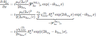 $$   \eqalign{     {{\partial A^z_{2\omega}}\over{\partial x}}       &=i{{\mu_0(2\omega)^2}\over{2k_{2\omega_z}}}         [{\bf P}^{({\rm NL})}_{2\omega}]_z           \exp(-ik_{2\omega_z}x)\cr       &=i{{\mu_0(2\omega)^2}\over{2(2\omega n_{2\omega_z}/c)}}           \underbrace{           {{\varepsilon_0}\over{2}}           \chi^{(2)}_{zxx} A^y_{\omega}{}^2\exp(2ik_{\omega_y}x)}_{              =[{\bf P}^{({\rm NL})}_{2\omega}]_z}           \exp(-ik_{2\omega_z}x)\cr       &=i{{\omega\chi^{(2)}_{zxx}}\over{2 n_{2\omega_z} c}}           A^y_{\omega}{}^2\exp[i(2k_{\omega_y}-k_{2\omega_z})x],\cr   } $$