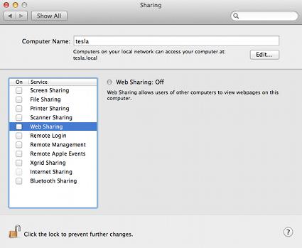Configuring a local Apache server under OS X 10 7 (Lion)